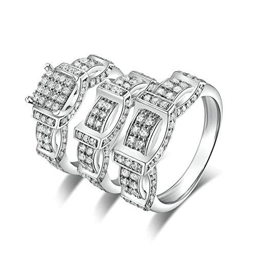 Knbob anelli a cuore in argento anello a forma di anello rotondo con cubic zirconia bianco brillante rotondo anello argento zirconi donna anelli di matrimonio dimensione