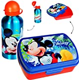 2 TLG. Set _ Lunchbox / Brotdose + Trinkflasche -  Disney - Mickey Mouse  - Deckel komplett abnehmbar - Kindertrinkflasche - Brotbüchse Küche Essen - 1 Fach..
