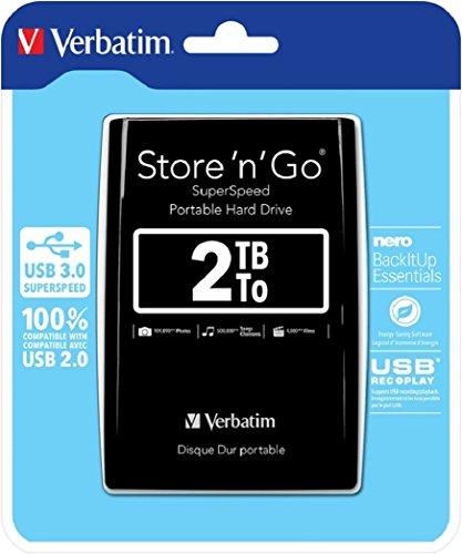 Verbatim Store 'n' Go externe Festplatte 2 TB, tragbarer Datenspeicher mit USB 3.0, schnelle Übertragungsrate bis zu 4800 Mbit/s, schwarz, 53177