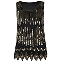 PrettyGuide Women's Sequin Tank Top Glitter Loose Shimmer Evening Party Club Top XL Gold