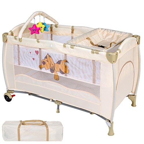 Nuovo lettino da viaggio per bambino portatile lettino da campeggio con tenda da viaggio pieghevole ingresso (beige)