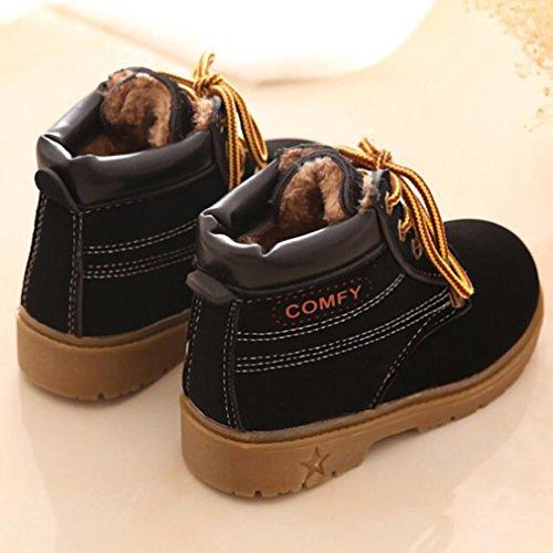 Y-BOA Chaussure Martin Botte Enfant Fourrée Bottine Lacet Ski Hiver Chaud Anti-Slide Boots Neige Garçon Noir