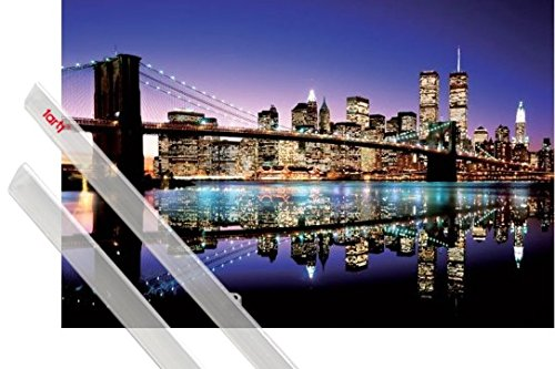 1art1® Poster + Suspension : New York Poster (91x61 cm) Aurore sur Brooklyn Bridge Et Kit De Fixation Transparent