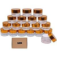 Botellas de cristal para cosméticos de 5 g, 19 unidades, rellenables, redondas, para cosméticos, maquillaje, labios, latas de muestra, con tapas doradas