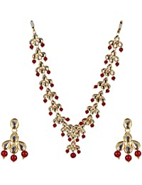 Beunwe Jewelry Gold Plated Kundan Pearl Stylish Fancy Party Wear Wedding Necklace Set Traditional Jewellery Set...