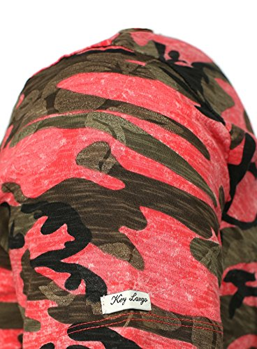Key Largo uomo maglietta CELEBRARE Mimetico Look con Stampa Fiore e Cuciture ornamentali Rosso