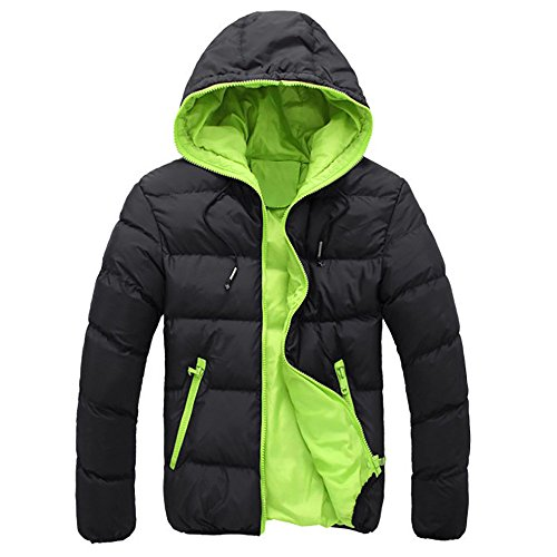 UJUNAOR Herren Daunenjacke Baumwolle Mit Kapuze Reißverschluss Leicht Dünn Slim Fit Winter Outdoor Outwear(Grün,CN XL)