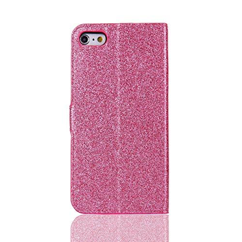 Lusso Wallet Case per iPhone 6Plus, MAOOY iPhone 6sPlus Moda Sparkle Shiny Cristallo Rhinestone Cassa, iPhone 6Plus/6sPlus Libro Portafoglio Custodia con Magnatic Closure & Carta di Credito & Basament Rosa 1