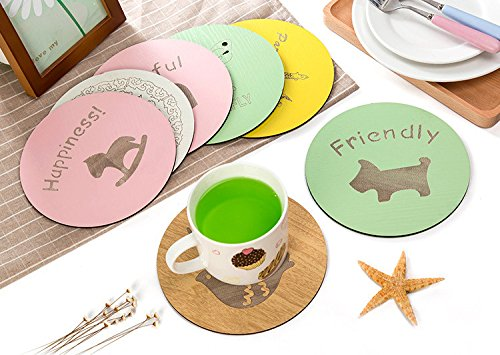 JERN Set of 4 (2 Large and 2 Small) Cartoon Wooden Coffee Drink Cup Coaster Placemats Round Pot Holder Heat Insulation Pad Kitchen Table Mats  available at amazon for Rs.459