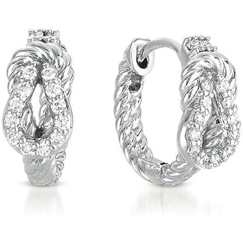 Oro bianco 14ct .26DWT diamante corda nodo d' amore orecchini a cerchio