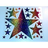 Bügelbild, Motiv: Sterne, Farbe: regenbogen, Setgröße: maxi, heißsiegelfähige Flexfolie