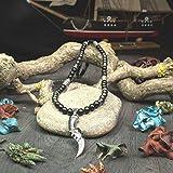Taille 65-71cm Magnifique Collier Homme perles 6mm pierre Naturelle Agate/Onyx noir mat Hématite Pendentif Couteau/Épée métal inoxydable Style médiéval antique couleur argent COLLITIV18