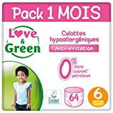 Love & Green Pack de 64 Couches Culottes Taille 6 +16 kg 1 Mois
