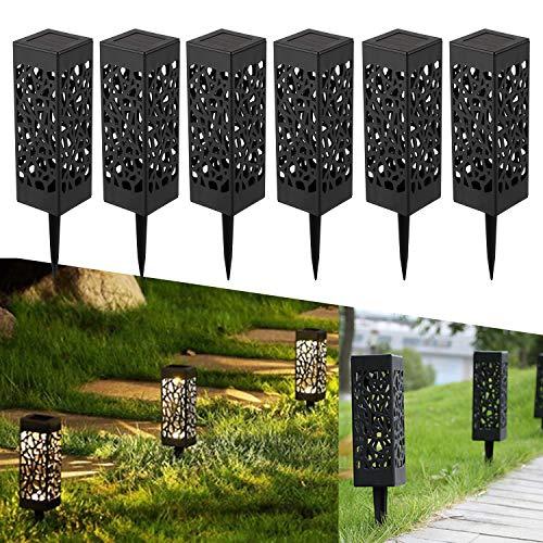 YAOBLUESEA 6 Stück Solarleuchte Garten Outdoor LED Solarlampe Gartenleuchte Solarlampen für draußen,Wasserdicht IP55,600mAh Batterie,Decorative Solarlampe,Terrasse,und Garten Hofwege Warmweiße