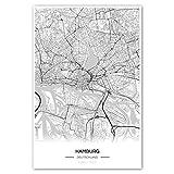 Zulumaps Poster 60x90cm Stadtplan Hamburg - Hochwertiger Kunstdruck