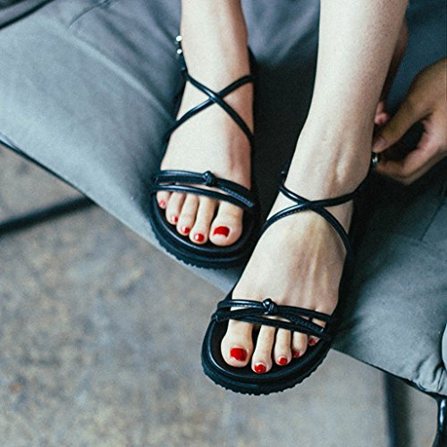 Summer Retro Casual Flats Roman Sandals Girls Mode Chaussures Noir