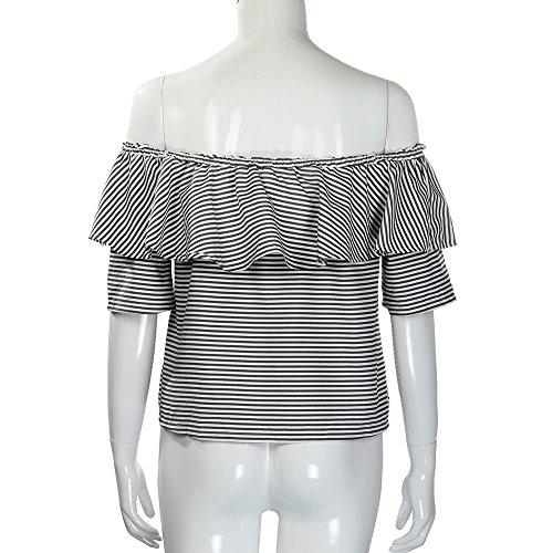 Culater® Femmes Ruffled Off épaule Hauts Casual Blouse été T Shirt Noir
