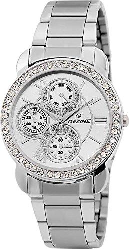 Dezine Chrono Pattern Silver Dial Ladies Analog watch-Dezine Chrono Pattern Blue Dial Ladies Analog watch-DZ-LR095-WHT-CH