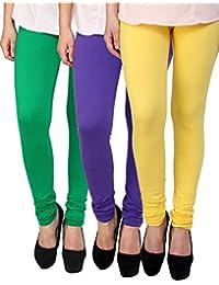 Anekaant Cotton Lycra Women's Legging Pack of 3 (Green, Purple, Yellow)