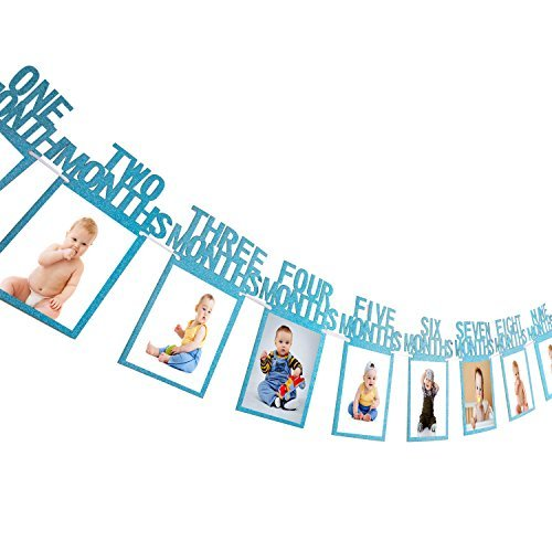 1. Geburtstag Girlande Bilderrahmen Baby Foto Banner Baby 1-12 Monate Foto Prop Party Girlande Dekor Verdickte Karte Papier (Blau)
