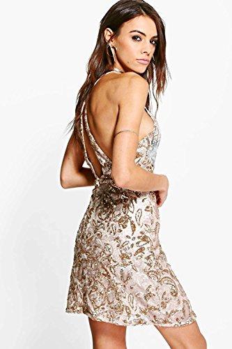 Or Femme Boutique Rezy Robe Moulante À Sequins Or