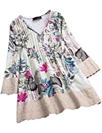 016a9d0819f81 Lazzboy Women Tops Blouse 3 4 Long Sleeve Ladies Floral Print Loose Casual  Slouch Shirt