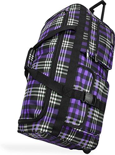 Reisetasche mit Teleskopgriff und verstärktem Boden in neuen Designs Farbe Karo Purple