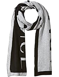 Armani Exchange Men's Knit Oversized Logo Scarf, alloy heather, One Size