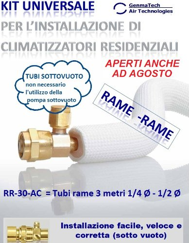 KIT PARA CLIMATIZADOR DE AIRE AONDICIONADOR INSTALACION Y ACONDICIONADORES-TUBI COBRE 3 M  1/4  DIAMETRO 1/2 MM DE DIAMETRO