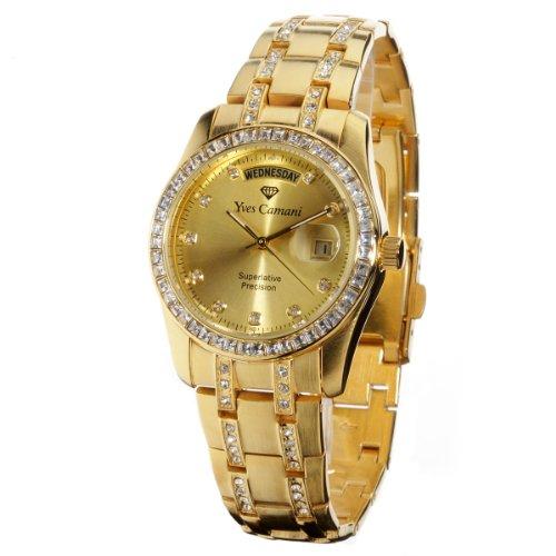 Yves camani - YC600G-G - Auron Gold - Montre Homme - Quartz Analogique - Bracelet en Acier Inoxydable