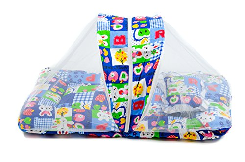 Baby-Bedding-Set-with-Mosquito-NetFoldable-Mattress-And-A-Pillow