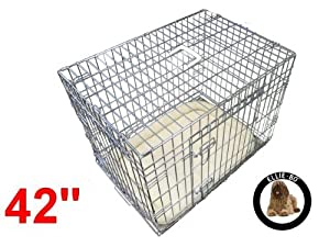 Ellie-Bo Deluxe Extra Strong 2 Door Folding Dog Puppy Cage with Bedding