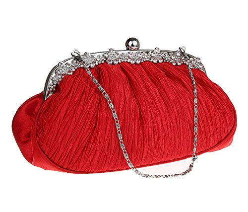 Strawberryer Folds Packs Soirée Robes Femmes Embrayage Banquet Satin Handbags Admission Portefeuille Décoratif c