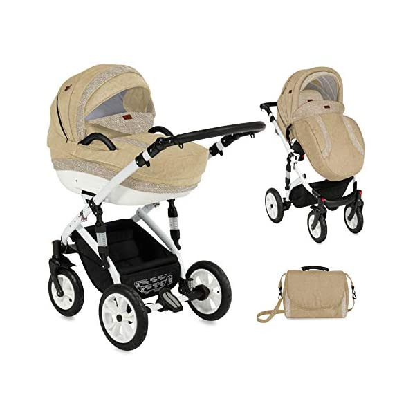 Lorelli Mia 3 in 1 Pneumatic tyre Pushchair, car seat, Baby Bath, Sports seat, Colour:Beige Lorelli matching easy to assemble car seat, baby bath, sports seat, mosquito protection, rain cover and diaper bag included in the scope of delivery Pneumatic tires (rubber tires) and suspension for easier driving easily foldable - adjustable and extendable sunroof with window and bag 7