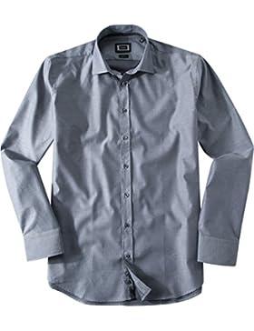 bugatti Herren Hemd Kent Baumwolle & Mix Oberhemd Gemustert, Größe: L, Farbe: Grau