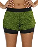 icyzone Damen Sport Shorts Kurze Hosen Sporthose - 2 in 1 Laufshorts Fitness Yoga Hot Pants (S, Green Heather)