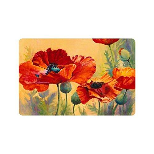 Schöne rote Mohnblume Blume Kunst Eingangsmatte Bodenmatte Teppich Indoor/Outdoor/Haustür/Bad Matten Gummi Rutschfeste 16 x 24,40 cm x 60 cm (Land-haus-bad-teppich)