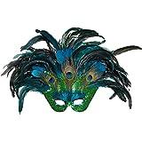 NET TOYS Venezianische Maske Pfau für Erwachsene   ca. 40 x 60 cm   Hochwertiges Frauen-Kostüm-Zubehör Karneval in Venedig   EIN Blickfang für Fasching & Maskenball