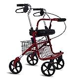LTLHXM Deambulatore Pieghevole Girello per Anziani A 4 Ruote Rollator in Alluminio Seduta di Stoccaggio Freni Bloccabili per La Mobilità Limitata con Gli Anziani Disabilità Uomini E Donne 85-96Cm