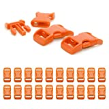 "Fermoir à clip en plastique, idéal pour les paracordes (bracelet, collier pour chien, etc), boucle, attache à clipser, grandeur: 3/8"", 29mm x 15mm, couleur: orange, de la marque Ganzoo - lot de 20 fermoirs"