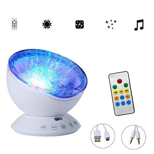 Gosear Ocean Wave LED RGB Projektor Rotierenden Nacht Lampe Projektor mit Musik Player Lautsprecher-Funktion mit Fernbedienung Weiß - 3