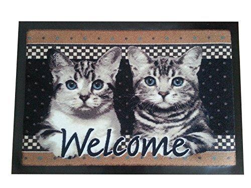 Fußmatte Türmatte Katze Welcome Cats Kätzchen Fußabtreter rutschfest (braun)