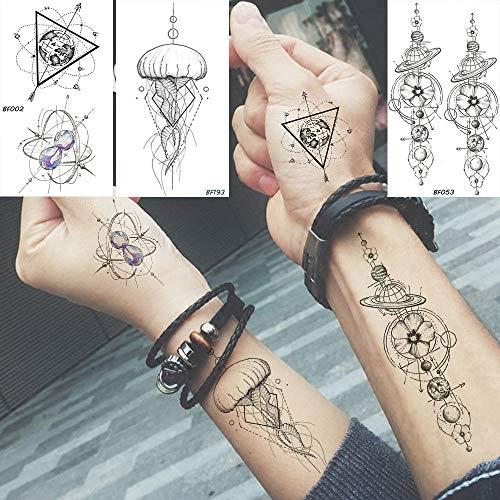 Temporäre Tattoo-Aufkleber Wasserdicht Temporäre Aufkleber Geometrische Planet Quallen Tattoo Schwarz Dreieck Tattoos Arm Männer Gefälschte Tatoos Ketten 10,5X6 - Quallen Kostüm Bilder
