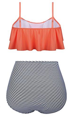 Aixy Donne Vintage Halter Tops Ruffle Strap Costumi da Bagno A Vita Alta Crop Top Flounce Bikini Set Arancia