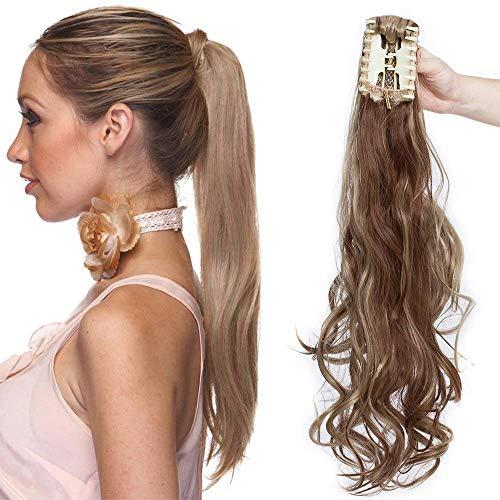 Coda di cavallo extension coda capelli clip pinza in extensions ponytail ricci mossi fascia unica posticci 60 cm 150g [castano chiaro mix biondo cenere]