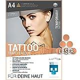 SKULLPAPER Tattoo-Transferfolie FÜR DIE HAUT - zum aufkleben und selbst gestalten - für Laserdrucker (A4 - 4 Blatt)