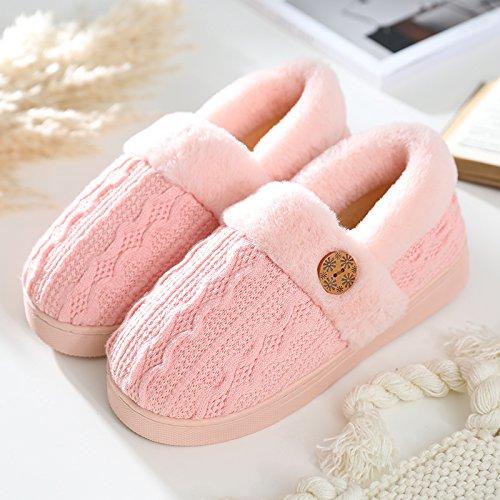 Doghaccd Zapatillas, En Invierno Las Zapatillas De Algodón, Parejas Sala De Estar Casa Todo Incluido Con Hombre Extra Grueso Peluche De Felpa Caliente Zapatos Indoor Pink2