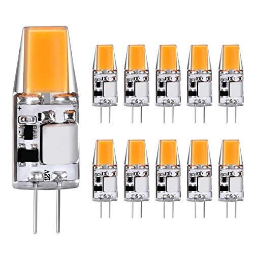 G4 LED Birnen 3W Warmweiß 2700K COB G4 Sockel Glühbirnen Ersatz für G4 20W 30W Halogenlampen 12V AC/DC, 360° Abstrahlwinkel, G4 LED Leuchtmittel Lampen 10er Pack Yuiip -