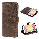Mulbess Ledertasche im Ständer Book Case / Kartenfach für Samsung Galaxy Note 3 Tasche Hülle Leder Etui,Vintage Braun