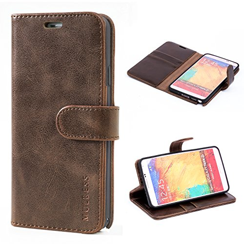 Mulbess Handyhülle für Samsung Galaxy Note 3 Hülle, Leder Flip Case Schutzhülle für Samsung Galaxy Note 3 Tasche, Vintage Braun